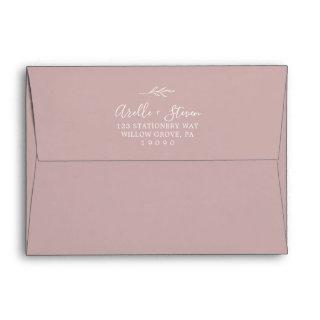 Minimal Leaf | Dusty Rose Wedding Invitations Envelope