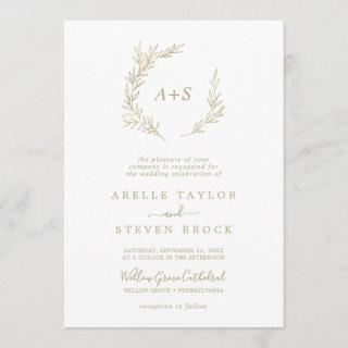 Minimal Leaf | Gold Formal Monogram Wedding Invitation