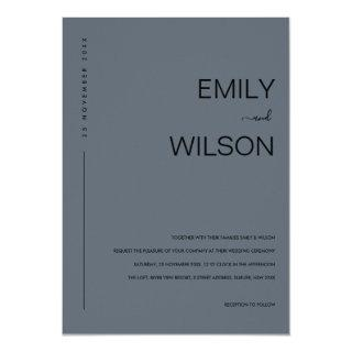 MINIMAL MODERN BLUE GREY RUST TYPOGRAPHY WEDDING INVITATION