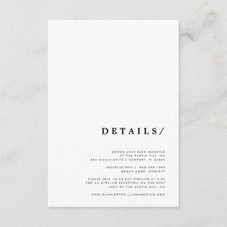 Minimal Modern Classic Typography Wedding Details Enclosure Card