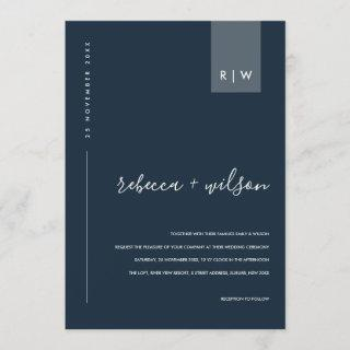 MINIMAL MODERN NAVY BLUE GREY TYPOGRAPHY WEDDING Invitations