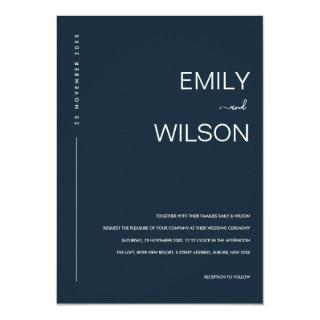 MINIMAL MODERN NAVY BLUE GREY TYPOGRAPHY WEDDING INVITATION