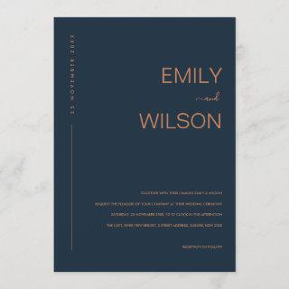 MINIMAL MODERN NAVY BLUE RUST TYPOGRAPHY WEDDING Invitations