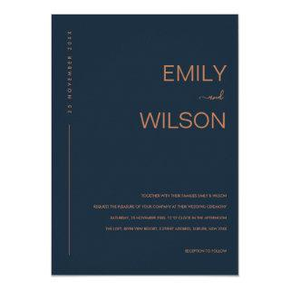 MINIMAL MODERN NAVY BLUE RUST TYPOGRAPHY WEDDING INVITATION