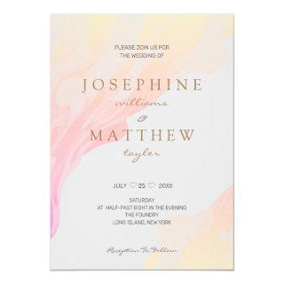 Minimal Modern Ombre Pink Peach Marble Light Gray Invitations