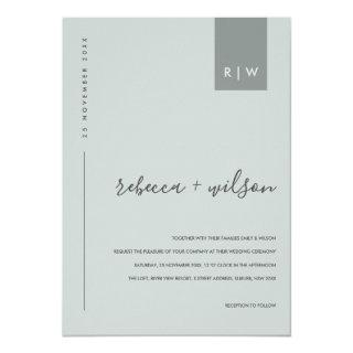 MINIMAL MODERN SOFT BLUE GREY TYPOGRAPHY WEDDING INVITATION