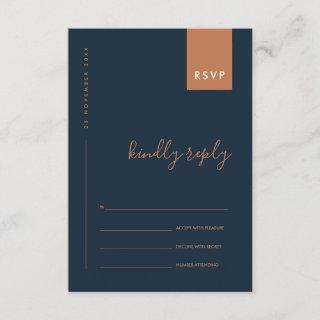 MINIMAL NAVY RUST ORANGE TYPOGRAPHY WEDDING RSVP ENCLOSURE CARD