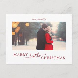Minimal Red Marry Little Christmas Save the Date Holiday Postcard
