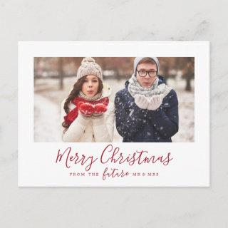 Minimal Red Merry Christmas Save the Date Photo Holiday Postcard
