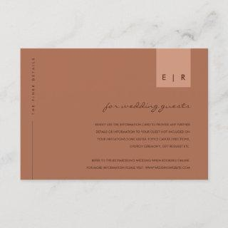 MINIMAL RUST ORANGE TYPOGRAPHY WEDDING DETAILS ENCLOSURE CARD