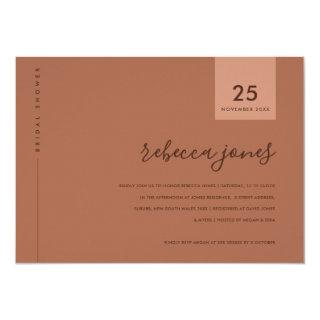 MINIMAL RUST TERRACOTTA TYPOGRAPHY BRIDAL SHOWER Invitations