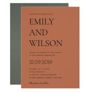 MINIMAL SIMPLE BOLD RUST ORANGE TYPOGRAPHY WEDDING INVITATION