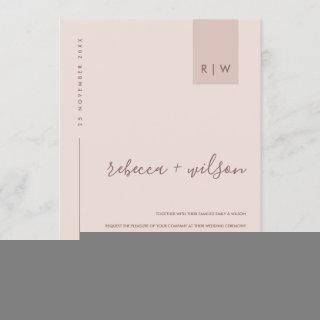 MINIMAL SOFT BLUSH PINK PEACH TYPOGRAPHY WEDDING Invitations