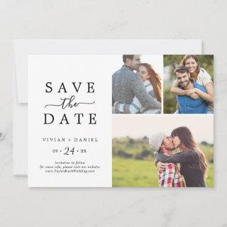 Minimalist 3 Photo Collage Save The Date