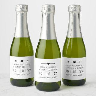 Minimalist B/W | Save The Date Mini Champagne Label