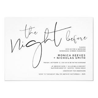 Minimalist Black Script Wedding Rehearsal Dinner Invitation