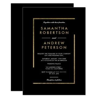 Minimalist black white gold chic elegant wedding invitation