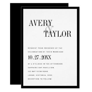 Minimalist Black White Typographic Wedding Invitation