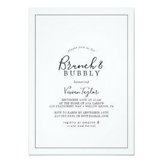 Minimalist Brunch and Bubbly Bridal Shower Invitations