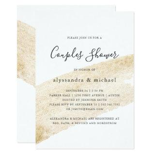 Minimalist Brush | Faux Gold Stripe Couples Shower Invitations