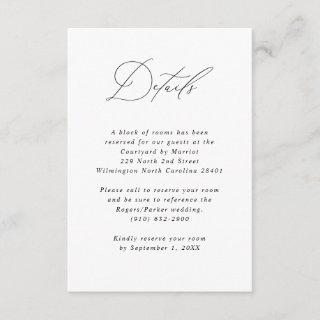 Minimalist Calligraphy Wedding Guest Information Enclosure Card