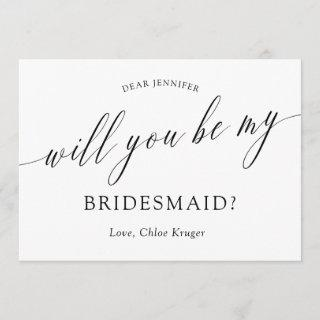 Minimalist Calligraphy Will You Be My Bridesmaid?