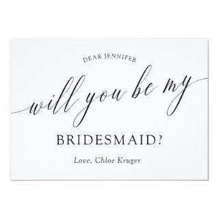 Minimalist Calligraphy Will You Be My Bridesmaid? Invitation