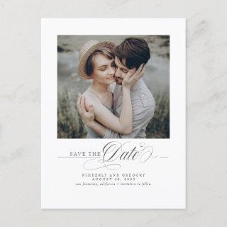 Minimalist Elegant Modern Save the Date Photo Announcement Postcard