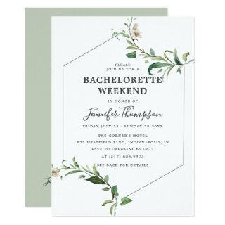 Minimalist Greenery Bachelorette Weekend Itinerary Invitation