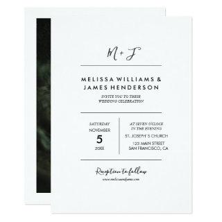 Minimalist Handwritten Monogram Wedding Photo Invitations