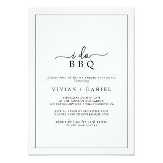 Minimalist I Do BBQ Engagement Party Invitations