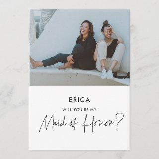 Minimalist Maid of Honor proposal photo card