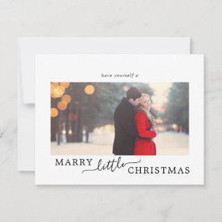 Minimalist Marry Little Christmas Save the Date Holiday Card