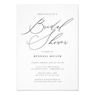 Minimalist Modern Calligraphy Bridal Shower Invitation