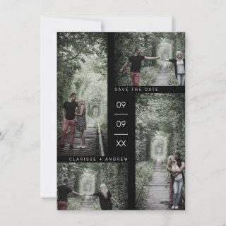 Minimalist Modern Four Photos Collage Wedding Save The Date
