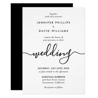 Minimalist Modern Script Black and White Wedding Invitation