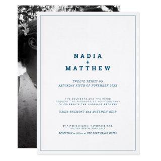 Minimalist navy blue and white text photo wedding Invitations