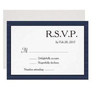 Minimalist Navy Blue White Gray Stripes RSVP Invitations