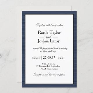 Minimalist Navy Blue White Gray Stripes Wedding Invitations