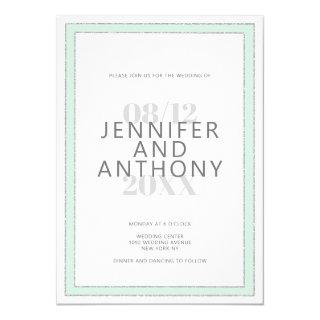Minimalist neo mint silver gray typography wedding Invitations