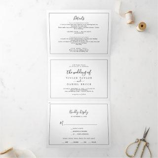 Minimalist Photo Wedding All In One Tri-Fold Invitation