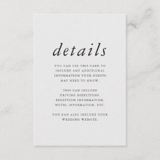 Minimalist Purple and Gray Wedding Details Enclosure Card