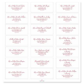 Minimalist Red Wedding Guest Address Labels