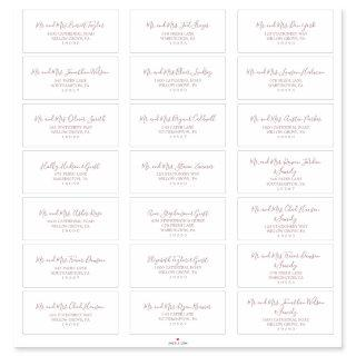 Minimalist Rose Gold Wedding Guest Address Labels