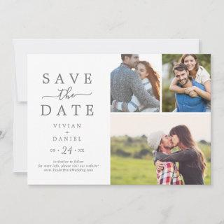 Minimalist Silver 3 Photo Collage Save The Date