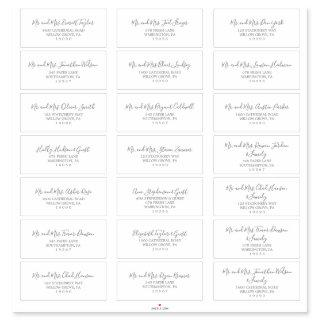 Minimalist Silver Wedding Guest Address Labels