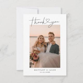 Minimalist Simple Script with Heart Wedding Photo Thank You Card