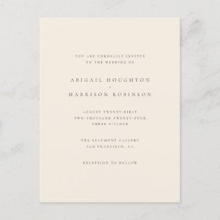 Minimalist Typography Blush & Cream Wedding Invitations Postcard