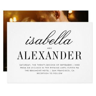 Minimalist Typography & Custom Photo | Wedding Invitations