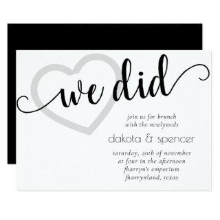 Minimalist We Did | Brunch with Newlyweds Heart Invitations